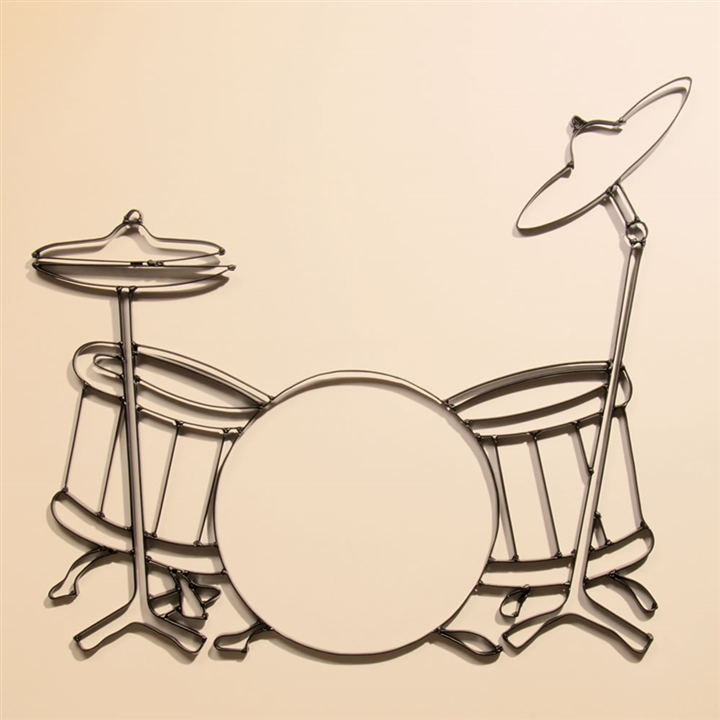 drumset metal wall art at the music stand