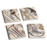Brass Instruments Tile Coasters