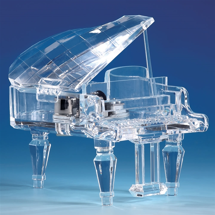 crystal grand piano music box at the music stand