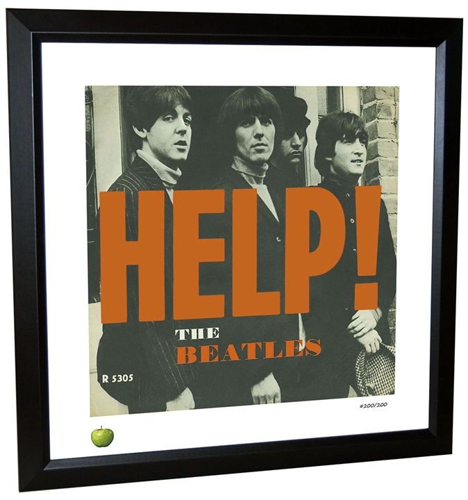Beatles \'Help!\' Single Framed Lithograph at The Music Stand