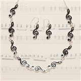 G-Clef Links Necklace & Earrings Set