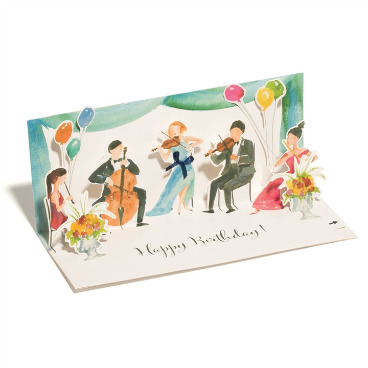 Classical Quintet Pop Up Birthday Card With Sound At The Music Stand