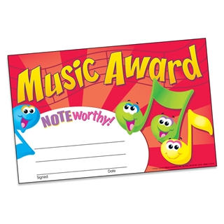 Music Mini Recognition Award Certificates