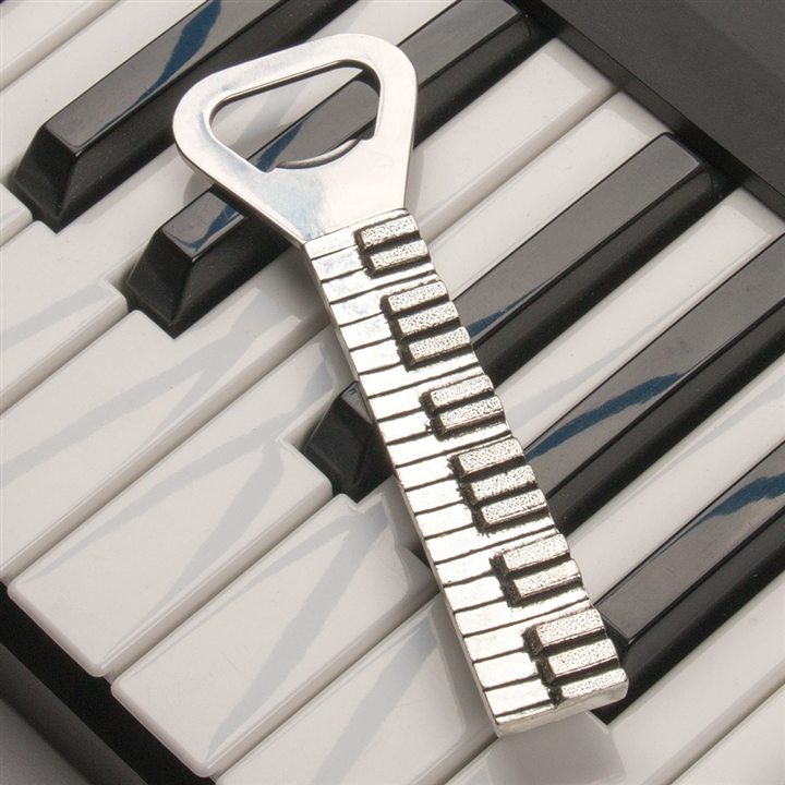 piano keys pewter bottle opener at the music stand