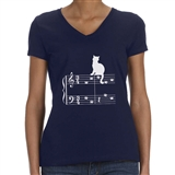 Cat On a Music Staff Women's T-Shirt