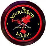Wurlitzer Music Neon Wall Clock