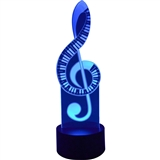 Treble Clef and Piano Keys 3D LED Lamp