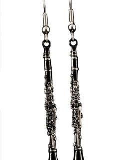 Black and Silver Clarinet Earrings