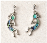 Abalone Kokopelli Earrings