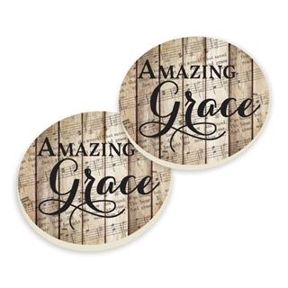 Amazing Grace Absorbent Ceramic Car Coaster Set