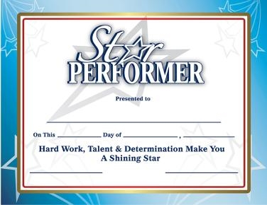 star performer award certificates set of 10 at the music stand