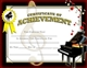 Colorful Piano Achievement Award Certificates