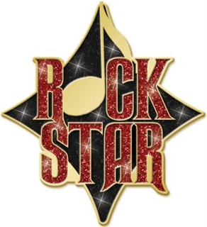 Rock Star Enameled Glitter Pin
