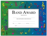 Band Award Certificates, Set of 10