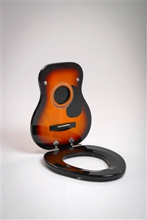 Acoustic Sunburst Guitar Toilet Seat