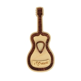 'I Love Music' Wooden Guitar Magnet