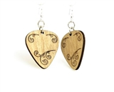 Laser-Cut Guitar Pick Wood Earrings