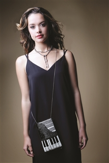 "Mary Frances ""Well Played"" Piano Crossbody Phone Bag"