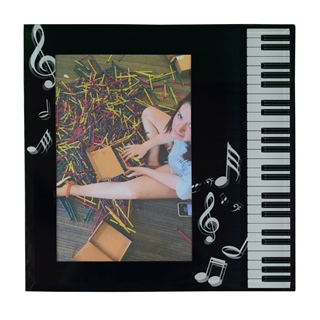 Glass Piano Keys and Notes Photo Frame