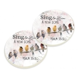 Faithful Song Birds Absorbent Car Coaster Set