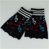 Fingerless Multi-Color Music Notes Gloves