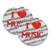 'I Love Music' Sandstone Car Coaster Set