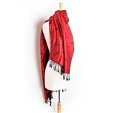 Pashmina Scarf - Red with Treble Clefs