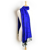 Royal Blue Pashmina Scarf with Black Treble Clefs