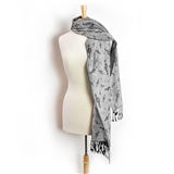 Silver Pashmina with Black Treble Clefs