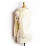 Pashmina Scarf-White on White Treble Clef