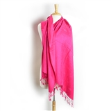Pashmina Scarf- Hot Pink with Treble Clef