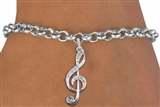 Crystal Treble Clef Charm on Chain Bracelet  Lobster Clasp 7 1/2