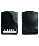 Piano Leather and Suede Credit Card Case