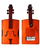 Violin Leather and Suede Luggage Tag