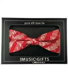 Bow Tie-Silk- Red and White Mozart Manuscript