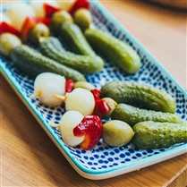 Banderillas with pickles, olive, and onion