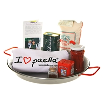 "Carbon Steel Gift Set with ""I Love Paella"" Apron"