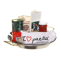 "Stainless Steel Gift Set with ""I Love Paella"" Apron"