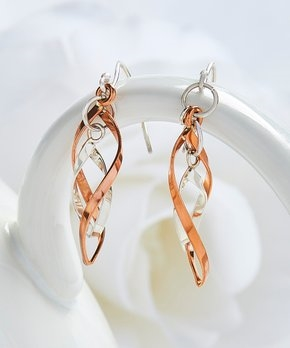 Sterling Silver & Bronze Twist Drop Earrings