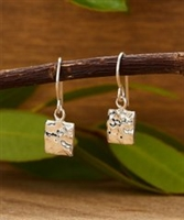 Sterling Silver Hammered Square Drop Earring