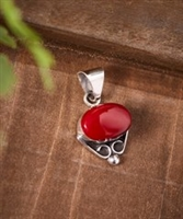 Red & Sterling Silver Scroll Pendant