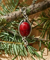 Sterling Silver & Red Oval Pendant