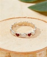 Red & Sterling Silver Heart Band