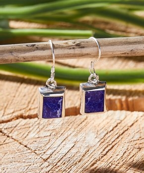 Blue & Sterling Silver Square Drop Earring