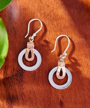 Two-Tone Circle Sterling Silver Drop Earring