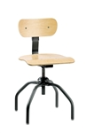 "Bevco 1260 w/ Rubber Cushion Metal Glides Swivel Plywood Chair- Height Adjust 16""- 21"""