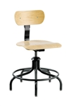 "Bevco 1302/5 Swivel Plywood Chair- Height Adjust 17""- 22"""
