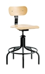"Bevco 1502/5 Swivel Plywood Chair- Height Adjust 22""- 27"""