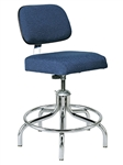 "Bevco 2200-5E Upholstered ESD Chair w/ Welded Chrome Footring Metal Glides, Height Adjusts 19"" - 24"""
