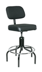 "Bevco 2600-5 Upholstered Chair w/ Chrome Footring Plastic Glides, Height Adjusts 24"" - 29"""